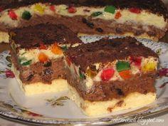Doskonałe ciasto na każdą uroczystość. Efektowne w smaku - ciemna masa  z dodatkiem czekolady i rodzynek, a jasna  z pokrojonymi galaretkami