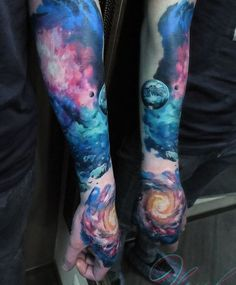 Even if you tattoo a galaxy in your sleeve up to your hand, it wouldn't really look messy. Instead it would still look magical and beautiful, especially with much lighter style and colors.