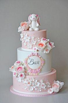 Bday / Christening cake by ArchiCAKEture - Childrens Cake - Kuchen Baby Girl Cakes, Baby Birthday Cakes, 1st Bday Cake, Christening Cake Girls, Christening Decorations, Rabbit Cake, Cake Decorating Tutorials, Love Cake, Cute Cakes
