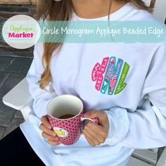Proudly display your initials with this Circle Monogram applique Beaded edge design. At Applique Market, we have an extensive selection of embroidery fonts and monograms for all applications, from A to Z.