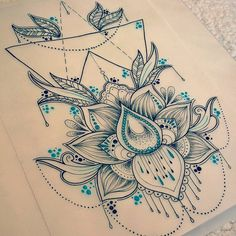 A4 Laminated Lotus Print Drawn by myself as tattoo designs or wall art! can be posted right away so fast delivery Message for any enquiries
