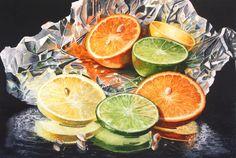 Fine Art Marketplace : Citrus Mosaic by Marsha Chandler - Artists Medium Style / Subject Fruit Art, Lemon Lime, Watercolor Paintings, Watercolors, Still Life, Photo Art, Mosaic, My Arts, Artsy