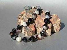 Black necklace Black agate Black Onyx Agate Necklace by Beautyland, $55.00