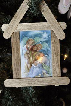 christmas card nativity ornament