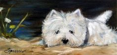 remarkable painting of a West Highland Terrier.