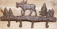 Cast Iron Moose Wall Hooks Hat Keys Rack Hunting Cabin Western Wildlife #122 #WESTERN