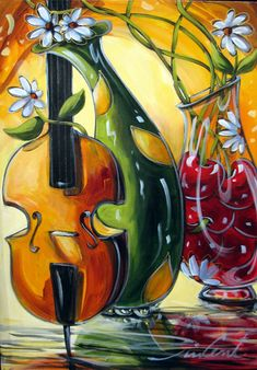 'Passion violin' 24 x 18 by Daniel Vincent♥ Music Artwork, Cool Artwork, Artwork Paintings, Daniel Vincent, Michael Lang, Music Doodle, Cuban Art, Funky Art, Art For Art Sake