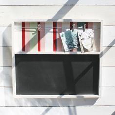 Salvaged from old beach huts this blackboard really captures the feel and colours of the coast Each memo board has been made from a collection of Beach Huts, Blackboards, Coastal Living, Red And Pink, Craft Projects, Colours, Wall, Kitchen Ideas, Handmade