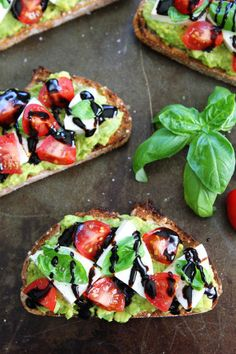 Caprese Avocado Toast Recipe on twopeasandtheirpod.com Caprese salad meets avocado toast! This is the BEST avocado toast and it's super simple to make!