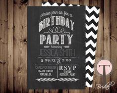 Chalkboard birthday invitation, birthday invitation, elegant, adult birthday, 30th birthday, 40th, 21st birthday, party invitation