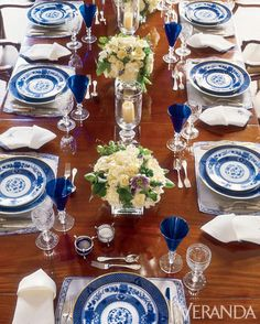Kelli Ford and Kirsten Fitzgibbons create a sophisticated blue and white tablescape.    - Veranda.com