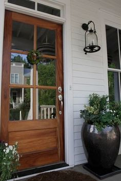 70 best modern farmhouse front door entrance design ideas in Wood Front Doors, Front Door Entrance, Entrance Decor, Entrance Design, Front Door Design, Front Entrances, Entry Doors, House Entrance, Front Doors With Windows