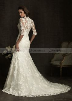 2012 New Design Sheath V-neck Half Sleeve Sweep Trailing Lace Bridal Gowns (10100275)