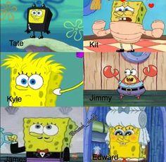 Spongebob evan peters, ahs, and american horror story Evan Peters, Ahs Funny, Funny Memes, Funny Horror, Funny Pics, Funny Quotes, American Horror Story Funny, American Horror Story Characters, American Horror Story Seasons