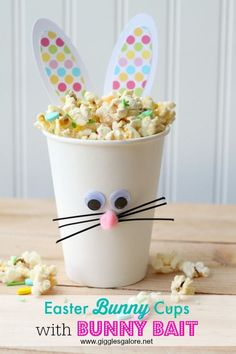 DIY Easter Bunny Cups with Bunny Bait popcorn mix