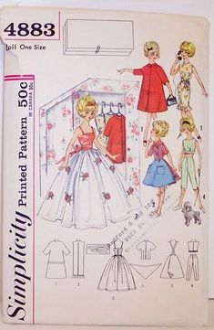 Free Printable Doll Clothes Patterns | Simplicity Pattern 4883 twelve inch Barbie Style Doll Vintage Clothing ...