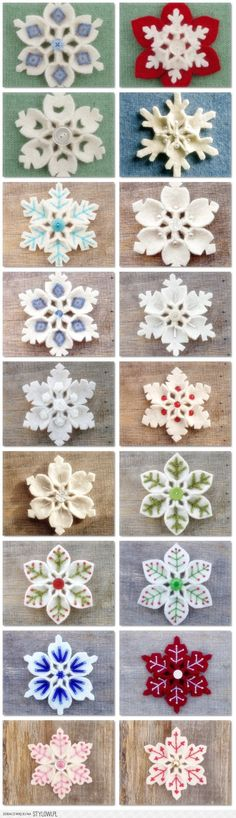 How to make Felt Snowflake DIY step by step tutorial instruction is part of Felt Winter crafts - I love it! So beautiful~ Felt Christmas Ornaments, Handmade Christmas, Christmas Fun, Snowflake Ornaments, Snowflakes, Crochet Christmas, Felt Decorations, Christmas Decorations, Christmas Projects