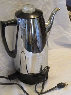 Vintage Duralux Electric Coffee Pot Percolator,Works,Silvery Metal,Black Plastic