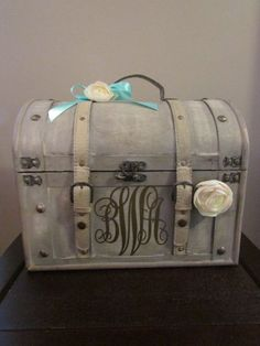 Pick Your Colors Shabby Chic Cream Wedding Trunk Card Holder Box Money Suitcase Rustic On Etsy 61
