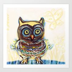 baby owl butterfly Art Print by Angie Ketelhut - $19.76