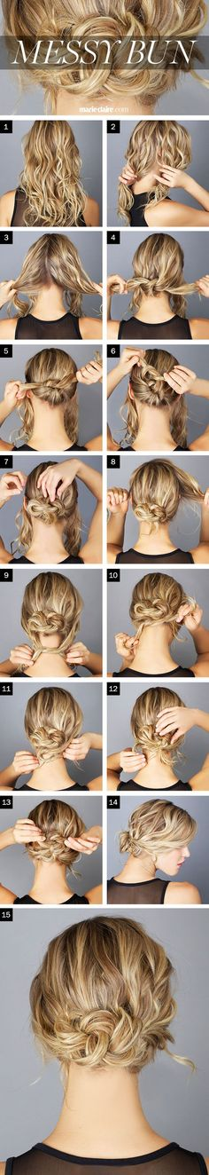 Hair for HB's wedding? The Messy Knot Bun --- if your hair feels silky/slippery, you might want to spray it with a texturizer, sea salt spray, or dry shampoo before you begin. Messy Bun Hairstyles, Pretty Hairstyles, Wedding Hairstyles, Popular Hairstyles, Summer Hairstyles, Latest Hairstyles, Hairstyles Haircuts, French Hairstyles, Trendy Haircuts