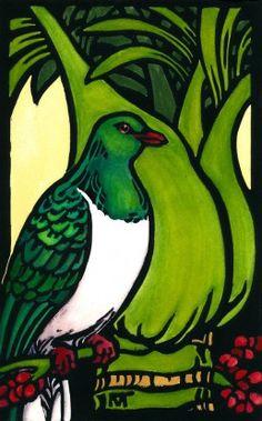 Mary taylor Pigeon and Nikau print Art NZ New Zealand Art, Nz Art, Art Folder, Maori Art, Iron Art, Mosaic Art, Mosaics, Bird Illustration, Indigenous Art