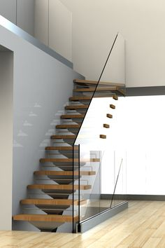 Rendered image of a staircase by SCE Designs. Also Created Fabrication drawings.