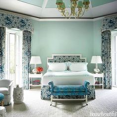 Catherine Brown Paterson - House Beautiful A stunning blue and bedroom featuring one of my favorite fabrics - Scalamandre Chi'en Dragon. This room has nine different shades of blue. Note the Tiffany b