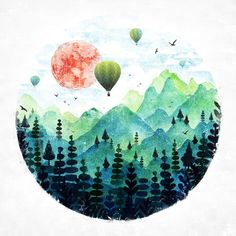 Roundscape by fil gouvea // art // drawing // inspiration // illustration // artsy // sketch Art Inspo, Painting Inspiration, Poetry Inspiration, Art And Illustration, Balloon Illustration, Watercolor Illustration, Art Design, Oeuvre D'art, Painting & Drawing