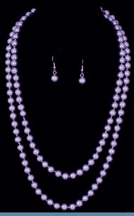 Purple Faux Pearl Double Strand Necklace with Earrings $20 @ www.whimzaccessories.com