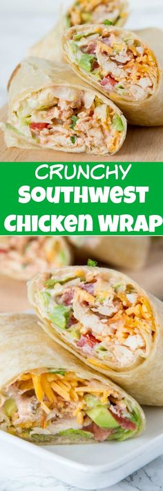 Crunchy Southwestern Chicken Wrap- Crunchy Southwestern Chicken Wrap – easy lunch ideas are hard to come by. This chicken wrap recipe come together in minutes, you can make them ahead, and the creamy spicy sauce makes them extra tasty! Good Healthy Recipes, Healthy Foods To Eat, Lunch Recipes, Mexican Food Recipes, Dinner Recipes, Healthy Eating, Health Recipes, Diet Foods, Yummy Recipes