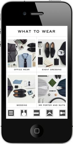 """""""Suit Yourself"""" app from the Tv show Suits. The """"What To Wear"""" feature."""