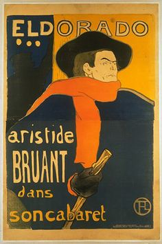 Advertising singer Aristide Bruant's café-cabaret at the Eldorado on Boulevard de Strasbourg in Paris, this poster was designed by famous French painter Henri Toulouse-Lautrec in 1892.