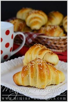 Kiflice Albanian Recipes, Bosnian Recipes, Pastry Recipes, Cake Recipes, Cooking Recipes, Sweet Pastries, Bread And Pastries, Savoury Baking, Bread Baking