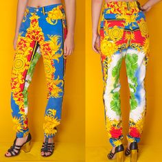 ffb39824096e ICONIC VERSACE JEANS COUTURE Vtg BAROQUE Scarf Print JEANS Jeans Stampati