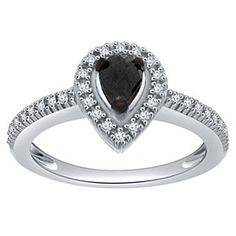 0.50Ct Black Pear Cut Moissant Halo Engagement Ring 10K Solid Gold # Free Stud Earring by JewelryHub on Opensky