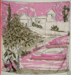 1960s Vera Silk Windmill Boats Scene Scarf Olive Green Pink Mid Century Modern   eBay