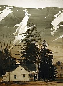 """2006, Nestled Home by Joseph Alleman Watercolor ~ 30"""" x 22"""""""