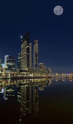 Super Moon Over Yarra River - Melbourne, Australia