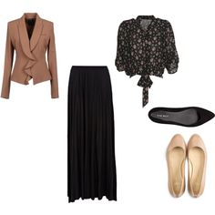 A Fall/Winter Church Outfit Idea!  Flowy black skirt + printed blouse + blazer with a color from the blouse!  Don't forget warm tights! Pair with simple black or neutral flats and you can go to church, modest, not causing distractions,  and ready to focus on what is most important - the Word of God and the blessing He has in store for you through the message! :-)