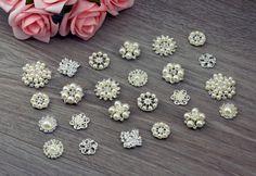 20 Mix Assorted Large Pearl Rhinestone Silver Embellishments - Flat Back Button - Wedding Decoration Invitation Cake Bouquet Jewelry 240063