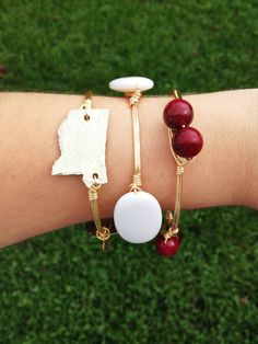 Mississippi State Bulldogs Wire Wrapped Bangle with Maroon White and Mississippi Baubles by AquaAnchorDesigns on Etsy