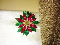 Vintage Poinsettia Christmas Flower Brooch by NaturesUniqueBotique