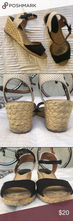 Lucky Brand  Espadrilles Wedges Perfect for summer! These wedges have been well loved but still have lots of life. See photos for wear. These are really comfortable to stand and walk in, but they are just too small for me.  My loss, your gain? No trades. Lucky Brand Shoes Wedges