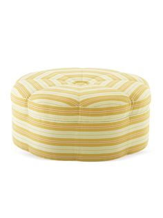 """I really love the """"Octagonal"""" shape and stripes on this fun yellow ottoman!!!!"""