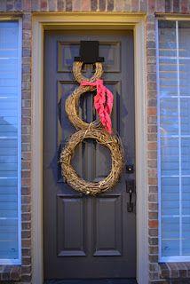 snowman door wreath