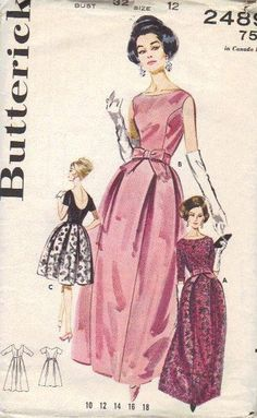 Butterick Sewing Pattern 1960s Evening Gown Cocktail Dress Mad Men Style Full Skirt Inverted Pleats Low Scoop Back  High Neck Bust 32