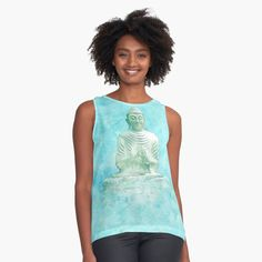 'Zen Buddha Meditation Statue in turquoise background' Sleeveless Top by Annie Nader Buddha Zen, Buddha Meditation, Turquoise Background, Background S, Bubble, Tank Man, Contrast, Statue, Tank Tops