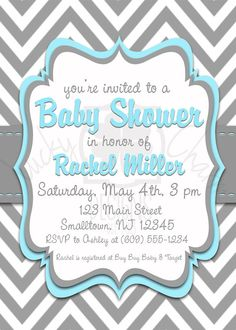 Elegant Blue and Gray Chevron Baby Shower by LuckyCharmOnline, $15.00
