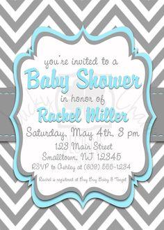 Elegant Blue and Gray Chevron Baby Shower by LuckyCharmOnline, $15.00